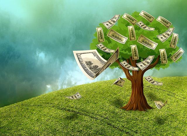 strom nesoucí peníze